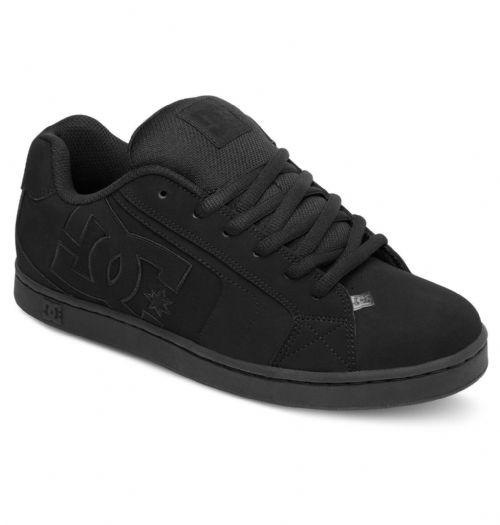 DC SHOES MENS TRAINERS.NEW NET BLACK LEATHER SKATE RUBBER SOLE SHOES 8W 61 3BK